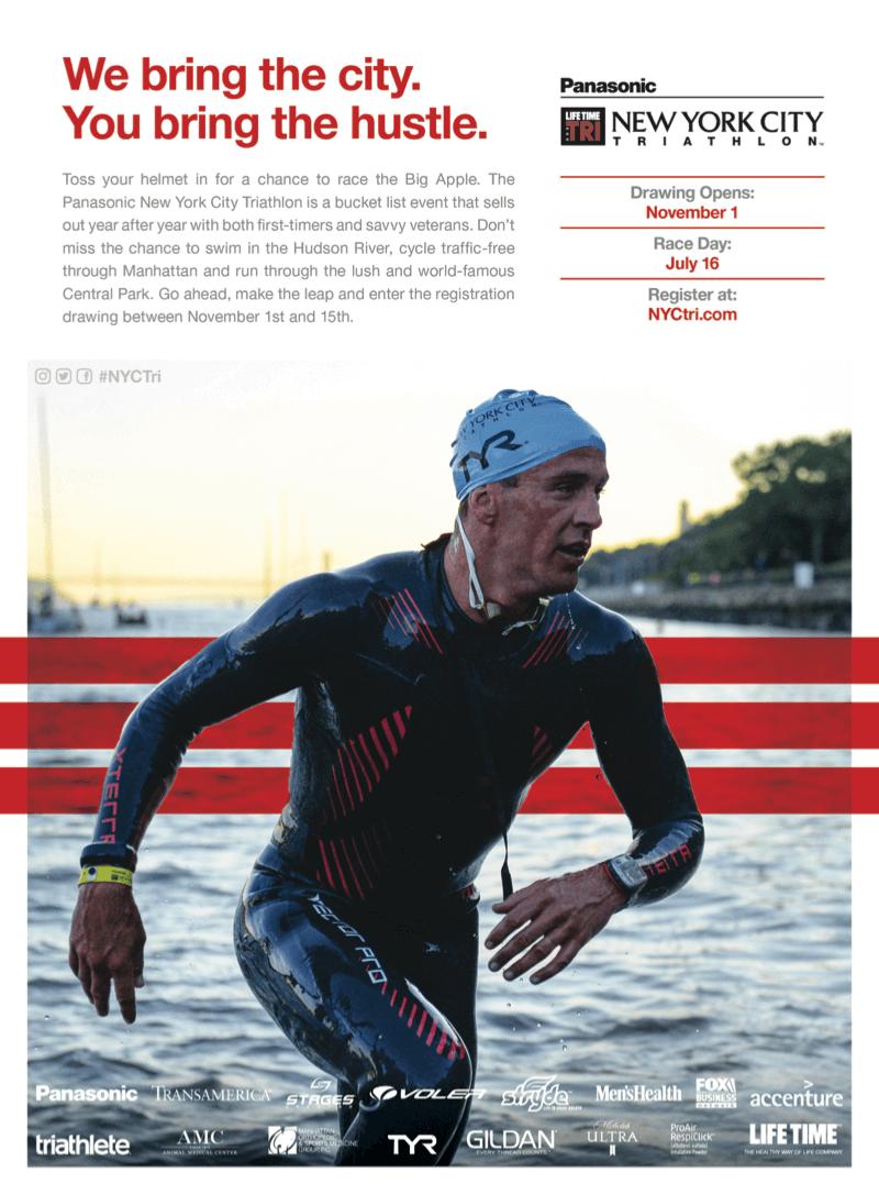 New York City Triathlon Men's Health Print Ad